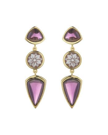 Orecchini Cammeo Doppia Rugiada Lavanda | Gaetano Vitiello Jewelry